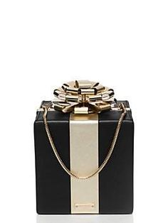 black and gold square gift box clutch by kate spade new york