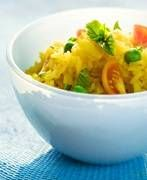 Easy Yellow Rice Recipe (use vegan chicken stock and soy sauce instead of fish sauce to veganize)