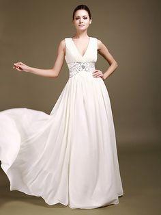 V Neck Chiffon A Line Wedding Gown