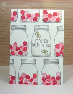 handmade get well card ... luv the jar with sentiment and lighning bugs amidst rows of jars filled with strawberries  ...