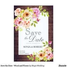 Shop Save the Date - Wood and Flower created by MagicWedding. Good Cheer, Flower Cards, Save The Date, Paper Texture, Dating, Wood, Flowers, Prints, Bloemen