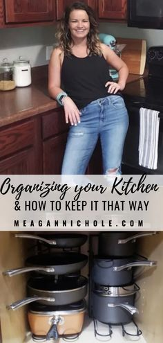 Organize your Kitchen: Make your Kitchen Flow | MeaganNichole.com Pan Organization, Laundry Room Organization, Towel Basket, Drawer Dividers, Cabinet Space, Diy For Girls, Organizing Your Home, Getting Organized, New Kitchen