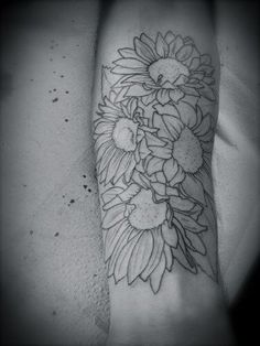 Sunflower tattoo style outlined