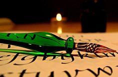 Green Venetian glass pen