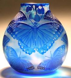 """Heron Glass - Mary Mullaney's Limited Edition and One of a Kind Glass Art: Sand Carved and Engraved Vessel """" Blue Morpho Bowl """""""