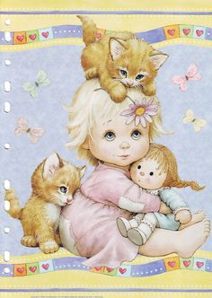 A tiny girl with her dolly and kittens Postcard by Ruth Morehead Sarah Kay, Vintage Cards, Vintage Postcards, Cute Images, Cute Pictures, Animal Pictures, Bing Images, Holly Hobbie, Jolie Photo