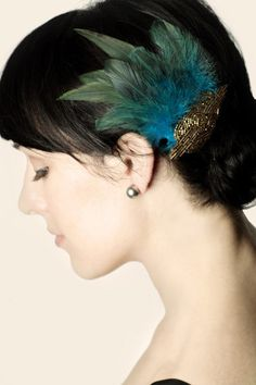 Art Deco Beaded Applique and Feather Hair Clip - Hair Accessory   by Emily Kammeyer