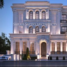 A new meaning for luxury , so where is that? And what's the reason behind that design ? Let's wait and see 5000 m plot soon by Sarah sadeq… Classic House Exterior, Classic House Design, Modern Exterior House Designs, House Outside Design, House Front Design, Neoclassical Architecture, Classic Architecture, Mediterranean Architecture, Luxury Homes Dream Houses