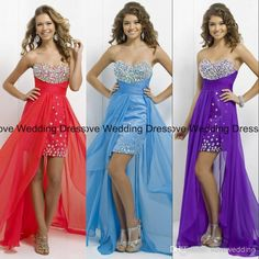 Wholesale Homecoming Dresses - Buy 2014 Simple Sweetheart Rruffle Beaded Hi Lo Homcoming Dresses Short Front And Long Back Girls Gowns Red Blue Purple Flowing Prom Dress YNE31, $109.9 | DHgate