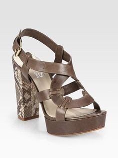 Kors Michael Kors - Veta Snake-Print Leather Slingback Sandals