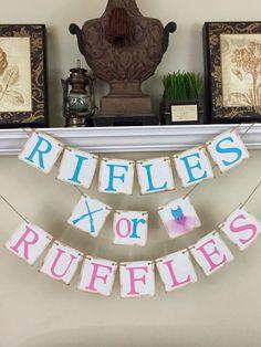 Rifles or Ruffles Banner Gender Reveal banner by WeefersDesigns