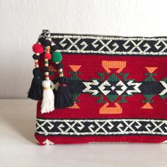 Carpet Ethnic Clutch,Red Zipper Pouch,Woven Clutch Bag,Red Bag,Ethnic Clutch Bag,Boho Clutch Bag,Boho Zipper Pouch,Red Ethnic Bag by GFMODE on Etsy