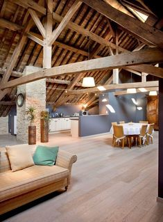 Bright oak floor, combined with an open living space and great oak … - DIY Traumhaus Open Space Living, Living Spaces, Barn Renovation, Interior Architecture, Interior Design, A Frame House, Home And Living, House Plans, Sweet Home