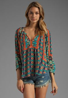 TOLANI Ruby Blouse in Turq Floral at Revolve Clothing - Free Shipping!
