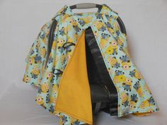 Minions baby car seat cover/canopy by SewCuteNanna on Etsy