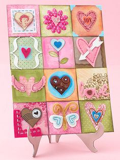 @BHG. heart collage. use 9x13 piece of cardboard for foundation, divide into blocks and create away. (valentines day card sayings simple)