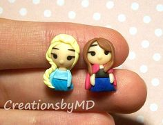 elsa and anna frozen stud earrings polymer clay by CreationsbyMD