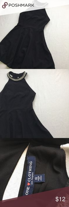 Black dress with statement collar. This dress is so simple yet stunning, I personally love black for everything & love that the collar is a statement and I don't need much else for an outfit! One of the stones on the collar seems to be a bit loose but I don't think it would be hard to fix. Honestly you can't really tell unless you are looking close, I have considered this flaw in the pricing. one clothing Dresses Mini