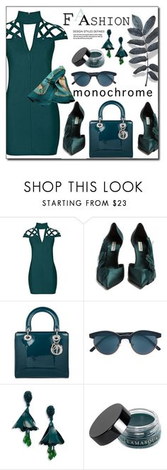 """Monochrome Formal Outfit"" by zon-vito ❤ liked on Polyvore featuring Rare London, Balenciaga, Christian Dior, Oliver Peoples, Oscar de la Renta, Illamasqua, Hermès, monochrome, GREEN and formal"
