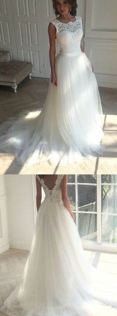 Tulle Wedding dresses, Long Wedding Dresses, Long Train Wedding Dresses, Sleeveless Wedding Dresses, Wedding Dresses Short, Ivory Wedding Dresses, Short Wedding Dresses, Wedding Dresses 2017, Beautiful Wedding Dresses, Ivory Sleeveless Wedding Dresses, Beautiful Wedding Dresses A-line Short Train Ivory Tulle Bridal Gown