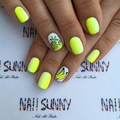 Beautiful summer nails, Bright gel polish, Bright gel polish for nails, Bright summer nails, Fruit nails, Lemon nails, Resort nails, ring finger nails