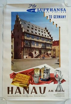 LUFTHANSA POSTER * German Airlines to Hanau AM Main * House of Goldsmiths 1960'S