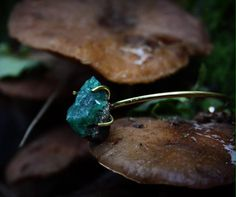 Bronze Bracelet with the most forestgreen emerald www.etsy.com/de/shop/WildlingJewellery