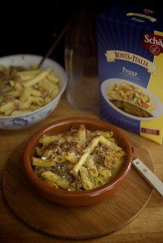 macarrones sin gluten con boloñesa bianca