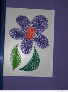 flower string art diy easy kids crafts summer Simple flower String Art for kids