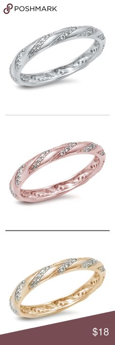 Sterling silver 925 eternity ring Sterlling silver 925 eternity  ring wedding band engagement ring rope style micro pave cubic zirconia available in 3 colors white gold yellow gold rose gold plated over silver brand new 3mm band rhoduim for anti turnish with gift box included Jewelry Rings