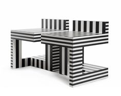 Table 69- Striped Side Tables - @Kelly Teske Goldsworthy behun #MemphisGroup available  at SUITENY.COM