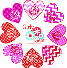 Our Valentine's Day appliqued heart w/monogram is too cute!  www.girlygearshop.com