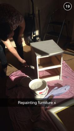 Bedside cabinets being painted up!