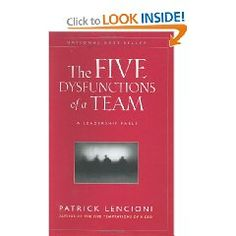 This book is a great tool in making sure your team culture is healthy.  Great to read with your leadership teams and good tool to identify issues to get productive again if one or more of these dysfunctions have creeped into your team.  1) Absence of trust  2) Fear of conflict  3) Lack of commitment  4) Avoidance of accountability  5) Inattention to results