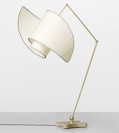 Carlo Mollino - Suora floor lamp - Galleria Colombari Italy, 1947 / 1994. Marble, brass, parchment 45 w x 43 d x 70 h inches