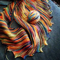 Knit with Pima Handpaint a cotton and silk blend. My hitchhiker scarf