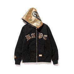 BAPE BLACK SHARK FULL ZIP HOODIE ($100) ❤ liked on Polyvore featuring tops, hoodies, full zipper hoodie, a bathing ape hoodie, hooded pullover, sweatshirt hoodies and hoodie top