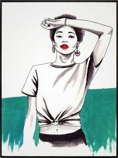 TURQUESA por Ludmila Vilarinhos - Urban Arts Decor Art Decor, Portrait, Frames, Women, Colors, Turquoise, Blue