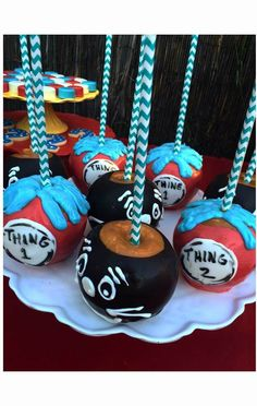 Candy apples at a Dr Seuss birthday party!  See more party planning ideas at CatchMyParty.com!