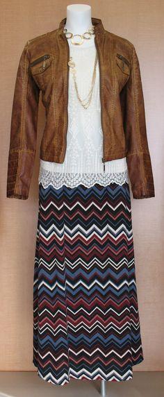 Cato Fashions - Fall 2014, Tan Jacket, Lace Cream Shirt, Chevron Maxi Skirt #catofashions #catoNevada1243