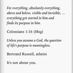 From Purpose Driven Life by Rick Warren.so much for atheism. Find Your Calling, Greatest Commandment, Purpose Driven Life, Thy Word, Deep Love, Atheist, Inspirational Quotes, Motivational, Gods Love