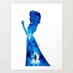 Art Print featuring Princess Elsa Double Exposure - Darker V… by Ahmad Illustrations