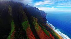An aerial view of the coast of Kauai, Hawaii