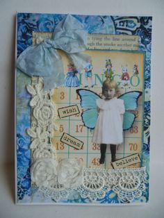 Vintage card in blue using images from Paper Whimsy and The Gecko Galz