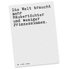 """Postkarte """"Die Welt braucht mehr Räubertöchter und weniger Prinzessinnen."""""""