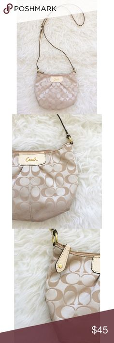 """Coach Tan Crossbody Ashley Signature Sateen Swingpack. Gently used but in great condition! The exterior has and imperfection on the bottom right (photo 4). Interior is clean. Fabric with leather trim. Zip top closure, fabric lining. Measures 8.6"""" x 6"""" x 3.5"""". Inside zip, cellphone and multifunction pockets. Product F46873. No trades! Coach Bags Crossbody Bags"""