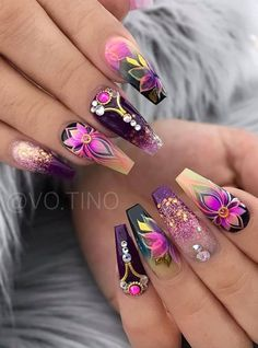 70 Alluring Acrylic Coffin Nails Design Ideas This Summer – … – Nail Art Fancy Nails, Bling Nails, Swag Nails, Grunge Nails, Best Acrylic Nails, Acrylic Nail Designs, Nail Art Designs, Gorgeous Nails, Pretty Nails