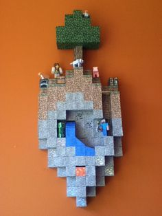 Papercraft Finished Wall Hanging Island (Unedited) by nombananas - Minecraft Minecraft Bedroom Decor, Minecraft Decorations, Minecraft Room, Minecraft Designs, Minecraft Creations, Minecraft Crafts, Minecraft Houses, Minecraft Posters, Minecraft Birthday Party