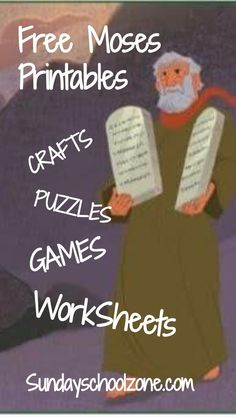 Moses is one of the towering figures of the Old Testament. These free, printable Moses Bible activities are related to this great Old Testament character. Sunday School Activities, Bible Activities, Sunday School Lessons, Sunday School Crafts, Group Activities, Bible Stories For Kids, Bible Crafts For Kids, Kids Church Lessons, Children Church