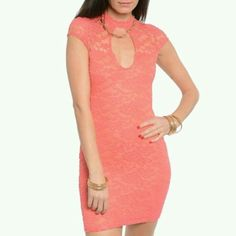 Vizio Lace Bodycon Coral Mini Dress (ALL DRESSES ARE BRAND NEW!!!!) This cap sleeve sheer floral lace mini dress features a turtle neckline. Keyhole cutout front and back with slim stretch fit. Please let us know your size S/M/L after purchase thanks Dress size chart Small- 4-6 Hips- 36-37.5 Waist- 25.5-27 Chest- 33.5-35  Medium- 8-10 Hips- 38-39.5 Waist- 27.5-29 Chest- 35.5-37  Large- 12-14 Hips- 40-42.5 Waist- 29-32 Chest- 37.5-40 (LEAVE COMMENT ON WHAT SIZE YOU WANT THANKS) Vizio Dresses…